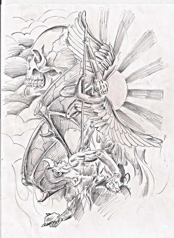 Good Vs Evil Skull Tattoo Designs Good vs evil skull tattoo
