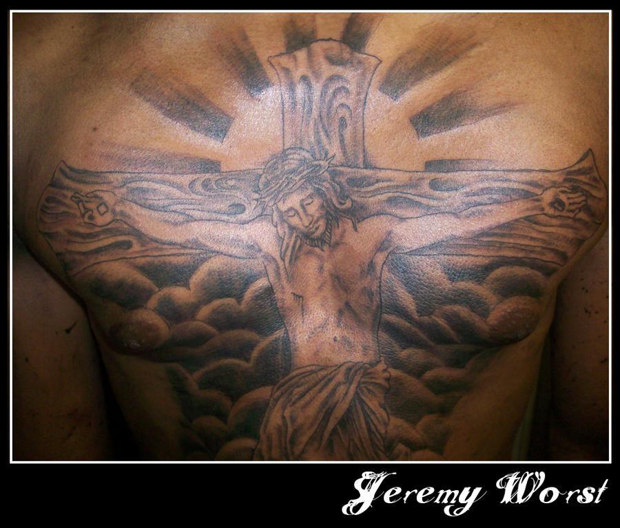 Jesus piece chest tattoo - chest tattoo