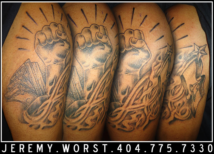 money power respect tattoo by. Black Bedroom Furniture Sets. Home Design Ideas
