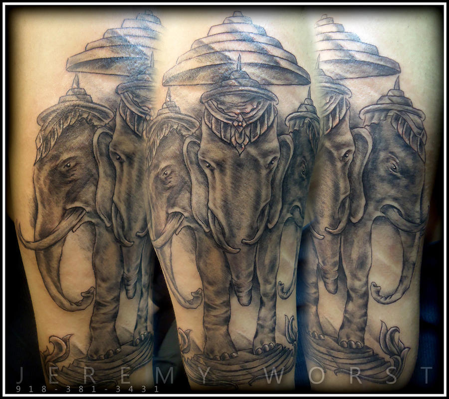 laos flag elephant tattoo by ~nomak-gfk on deviantART
