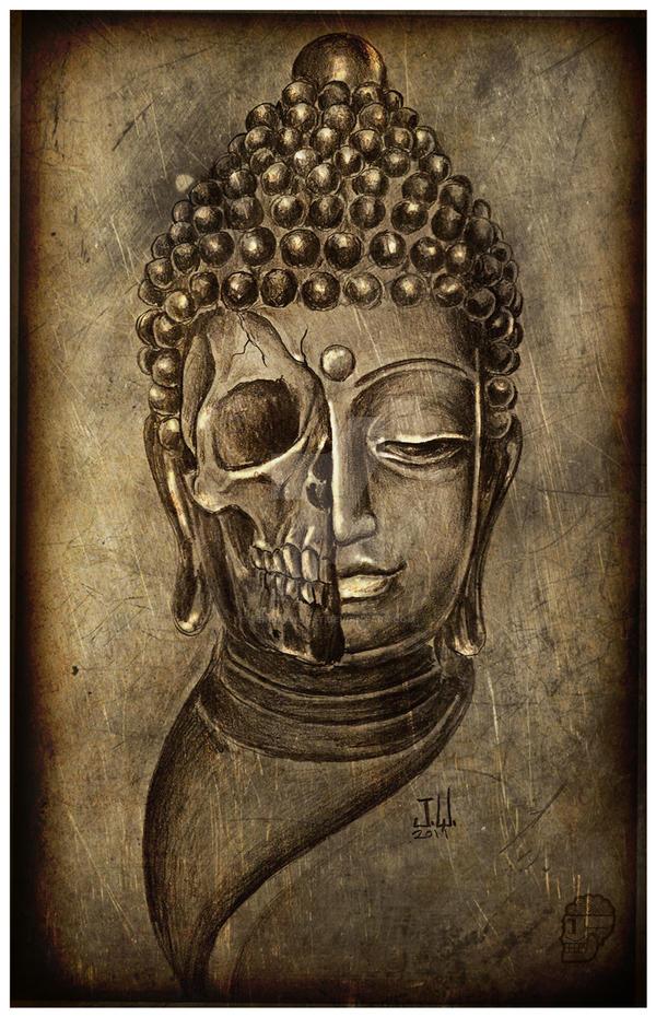Half Buddha Half Skull Print by JeremyWorst