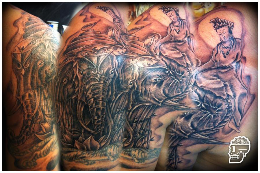 3 headed elephant tattoo 2 by jeremyworst on deviantart. Black Bedroom Furniture Sets. Home Design Ideas