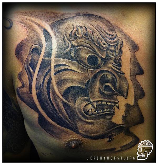 Japanese mask tattoo by JeremyWorst on DeviantArt