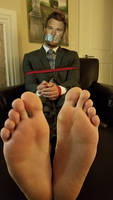 Christopher Michael Pratt tied up and barefoot