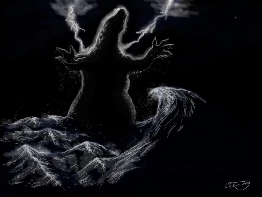Godzilla out of the sea by Ucaliptic