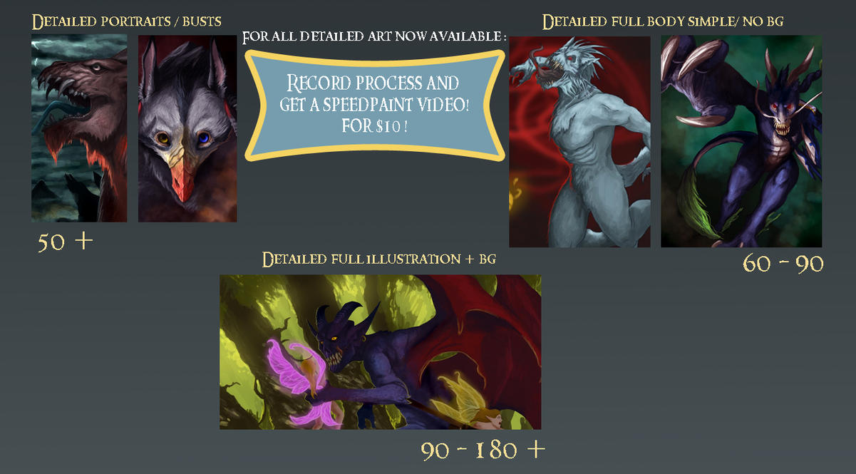 Detailed art prices by Ucaliptic