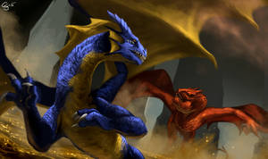 Commish- Becaria vs Smaug by GoldammerArt