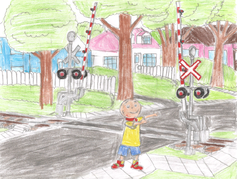 Caillou At A Railroad Crossing By Willm3luvtrains On