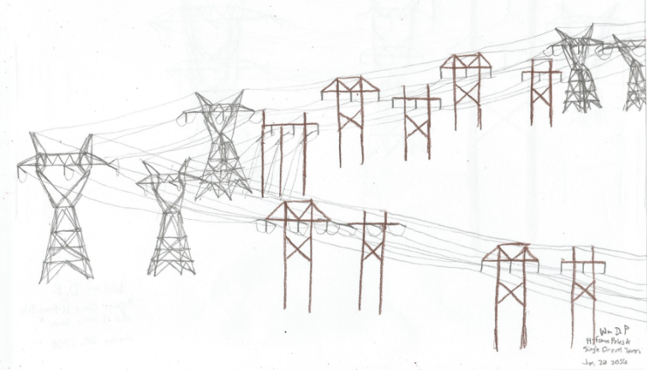 Stacked H Frame Electrical Poles : Single circuit h frame poles and lattice towers by