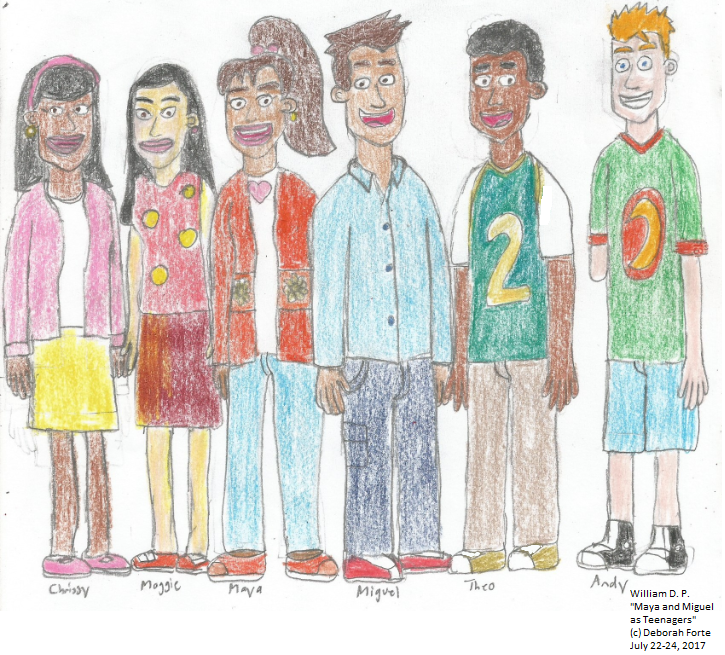 Maya and Miguel Characters as Teenagers colored by