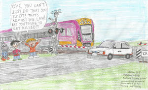 Wallabee Angry at Railway Crossing Violator by WillM3luvTrains