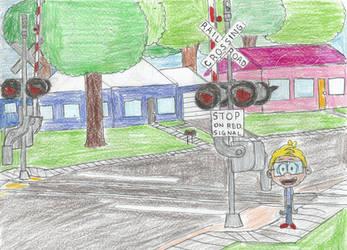 Cody near a Railroad Crossing