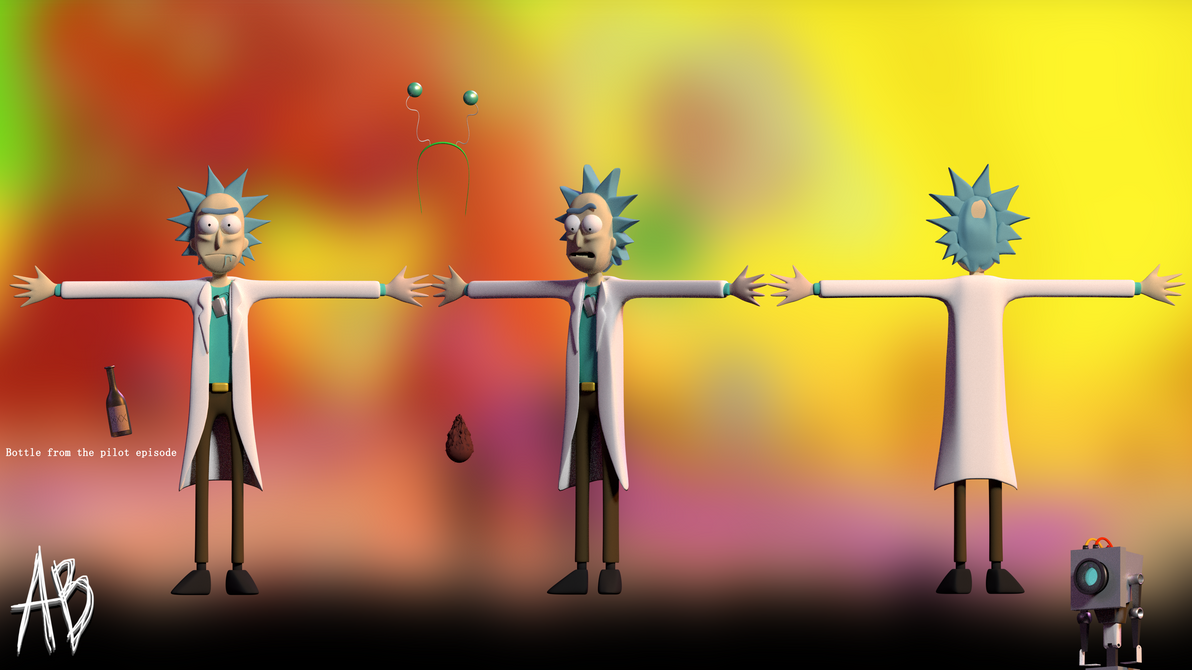 blender rick and morty rick with props by anthonyblender on