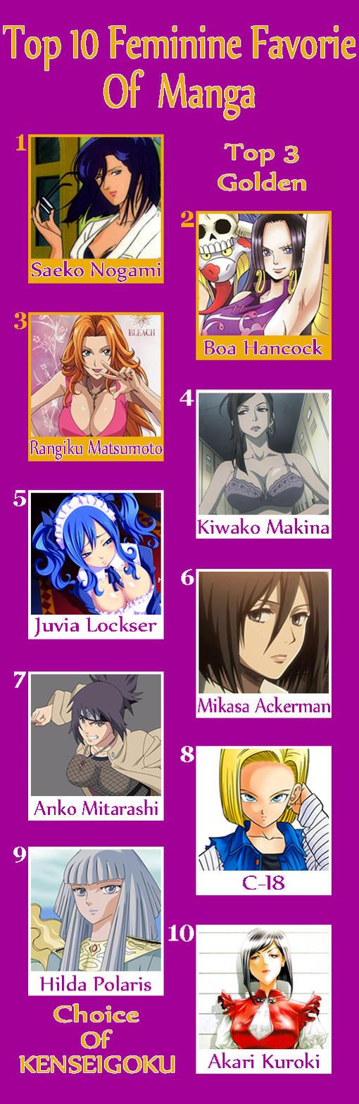 My Top 10 Feminine Favorie Of Manga by kenseigoku