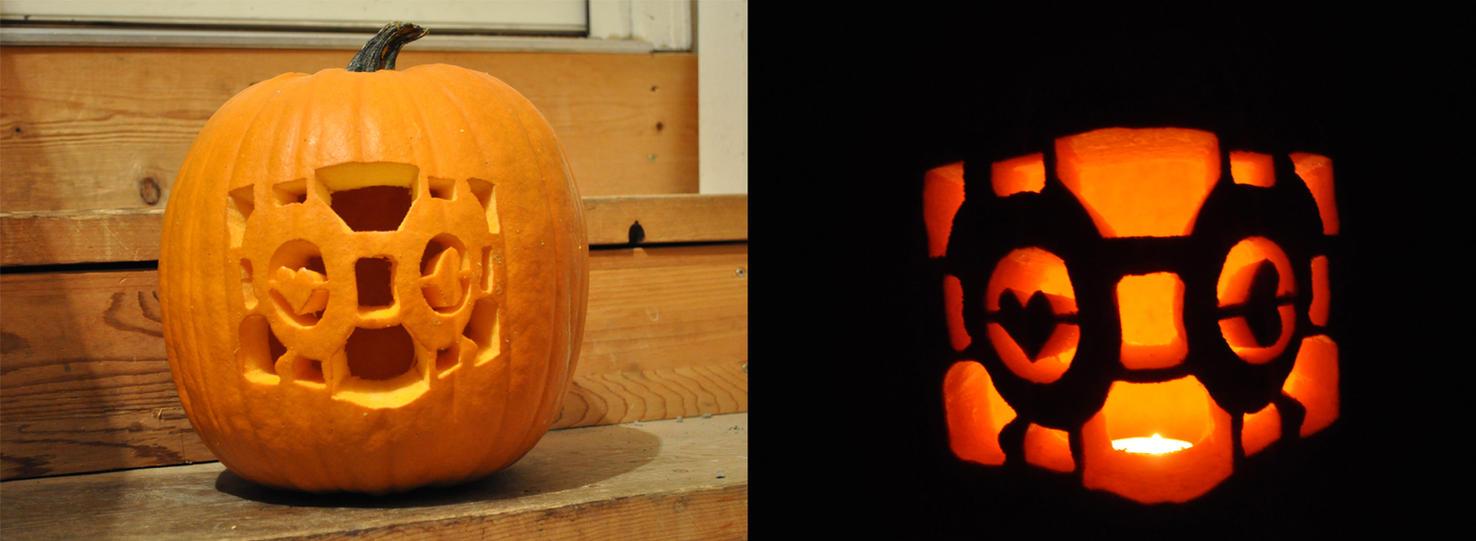 Portal Companion Cube Pumpkin Carving by ladybug95