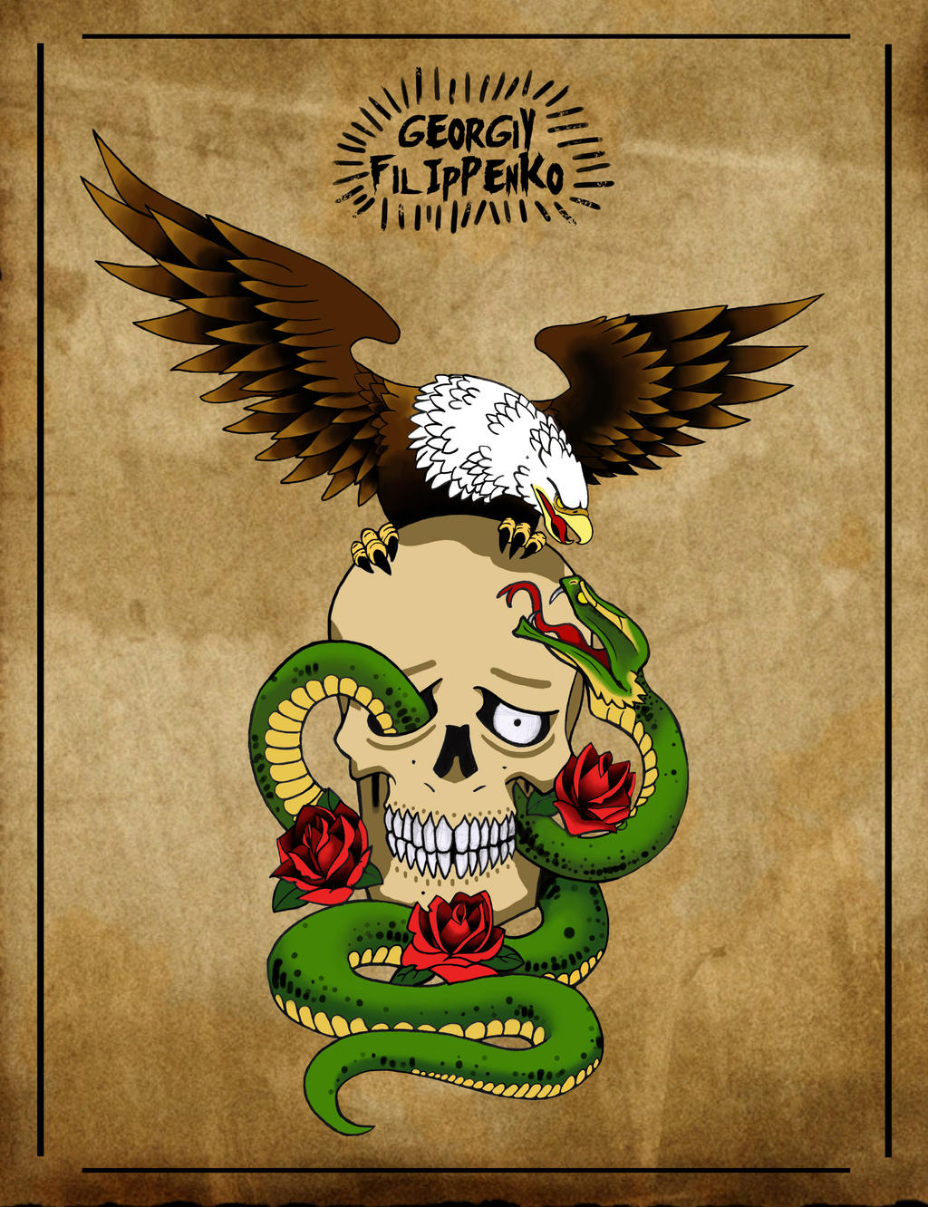 Eagle snake and skull by vomitman on deviantart for Skull and eagle tattoo