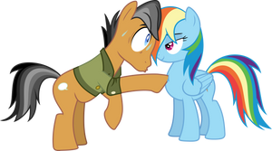 Quibble Pants and Rainbow Dash poke