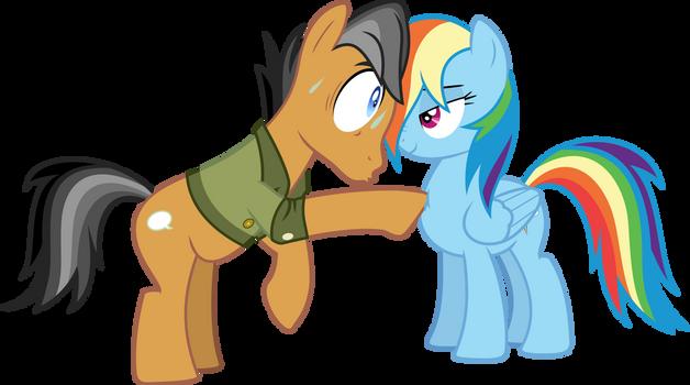 Quibble Pants and Rainbow Dash poke
