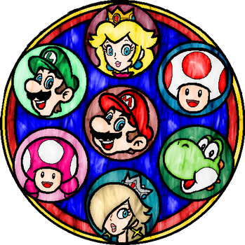 Super Mario Stained Glass Window
