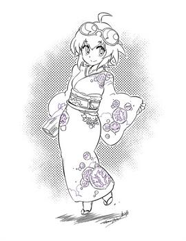 Kimono Madoka -Lineart-