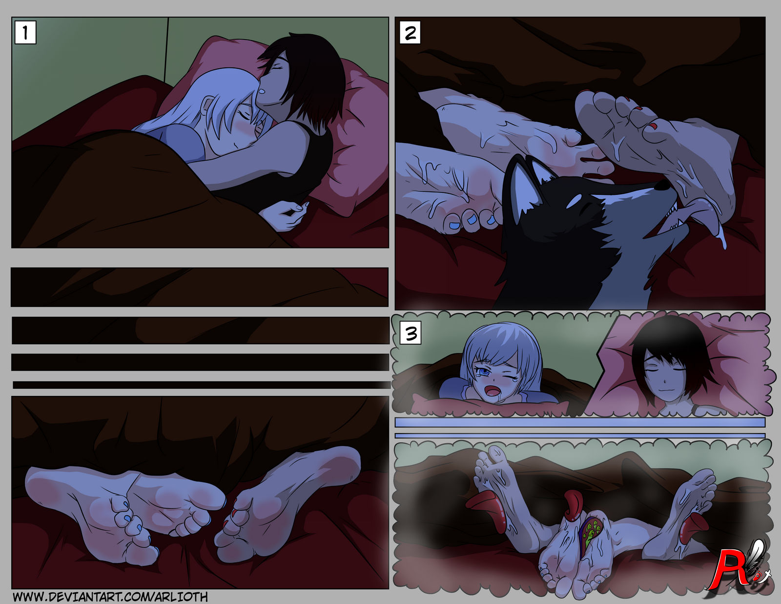 COMISSION: Weiss And Ruby Sleepy Feet