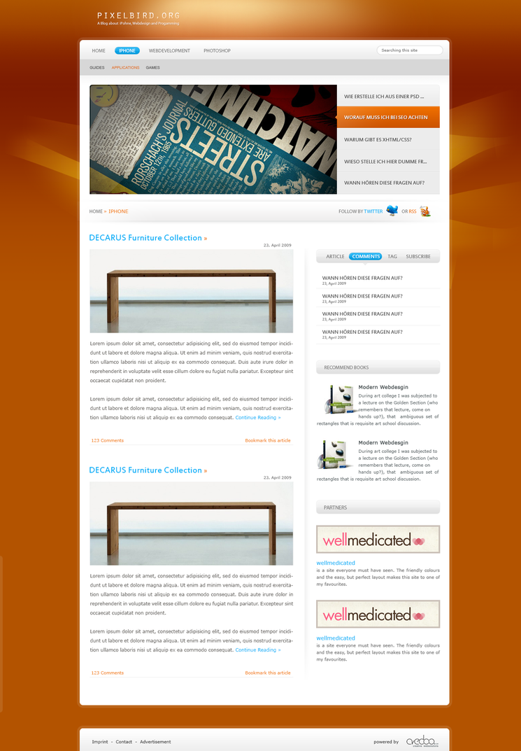 Free Blog Template Design (PSD) by flekiii on DeviantArt