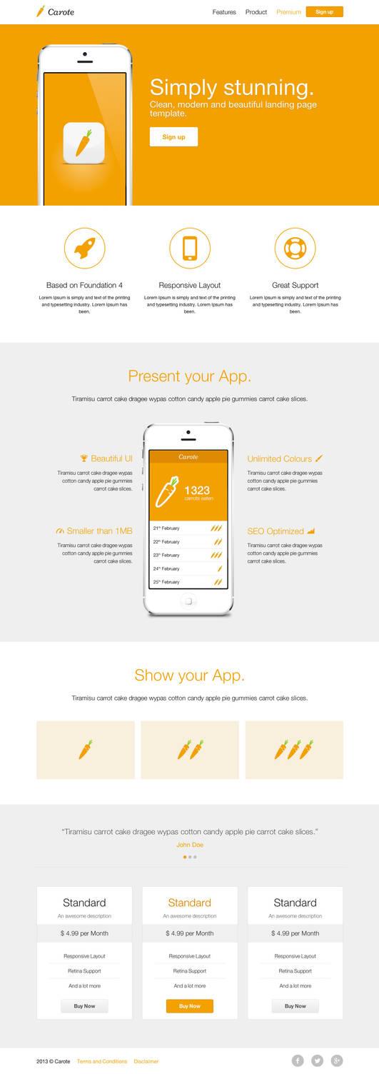 Carote - Responsive App Landing Page