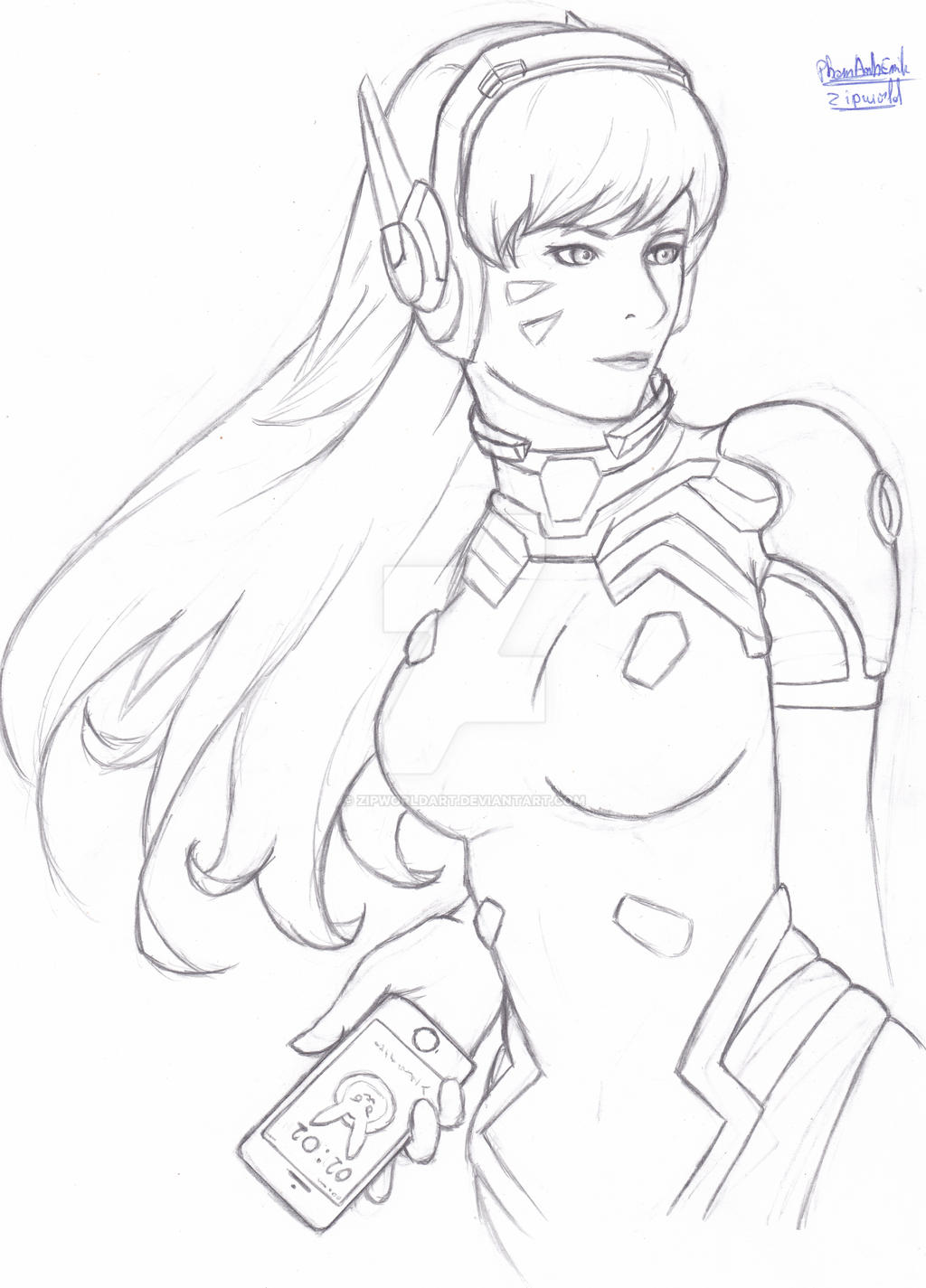 D Line Drawings Zip : Dva by zipworldart on deviantart