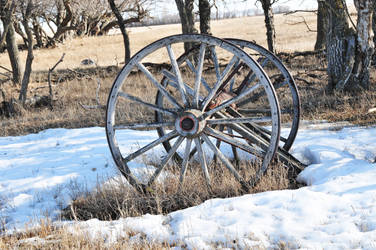 wagon wheel and snow 2 by Marvmitty