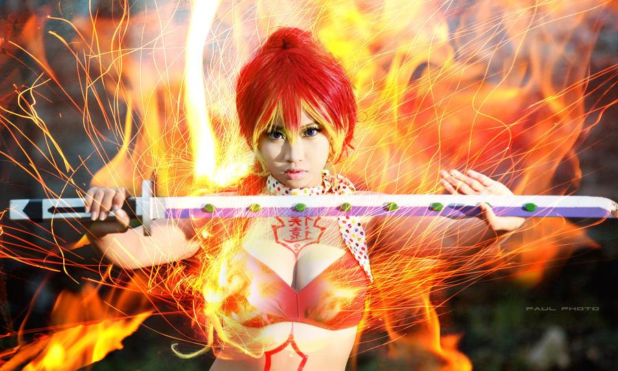 Shura Kirigakure with fire by MonicaWos