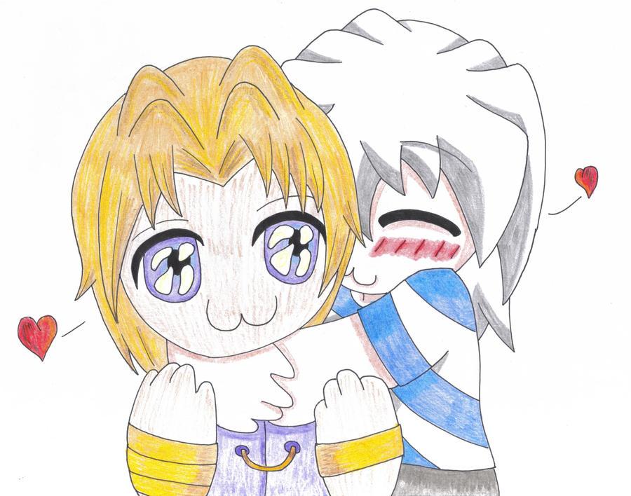 Chibis hugging - photo#9