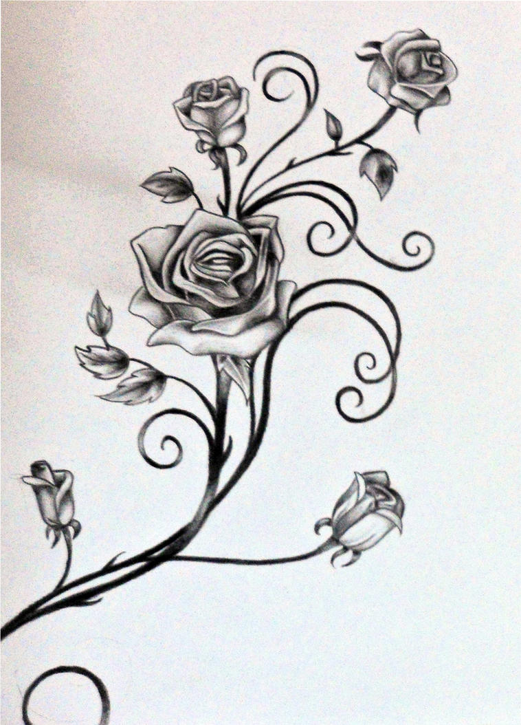 Roses and The Vine by rosilutfiRose Vine Drawing Tattoo