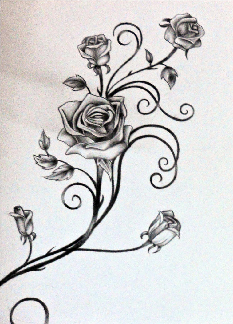 Roses and the vine by rosilutfi on deviantart for Rose and vine tattoo