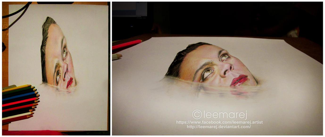 3D face on water by leemarej