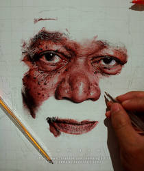 Ballpen Portrait - Morgan Freeman WIP 3 by leemarej