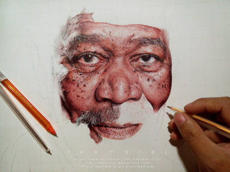Ball pen Portrait of Morgan Freeman WIP 4