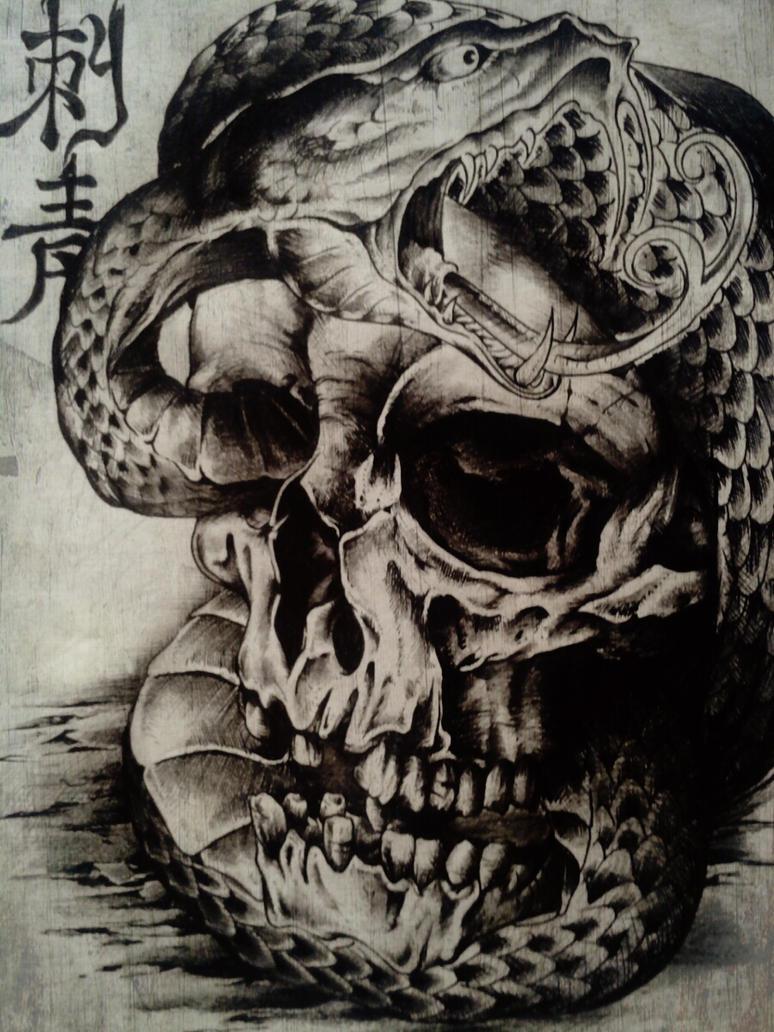 Snake Skull Tattoo: Skull Snake Tattoo Design By Kathlene18blanca On DeviantArt