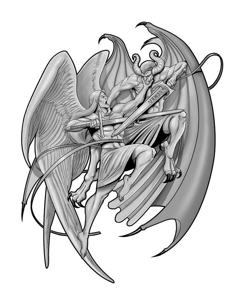 Angel and Demon tattoo by JoseManuelSerrano