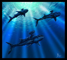 Swimming with Stethacanthus by dustdevil
