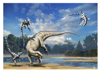 Tenontosaurus vs Deinonychus by dustdevil