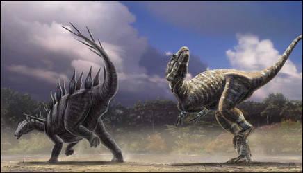 Lexovisaurus vs Allosaurus by dustdevil
