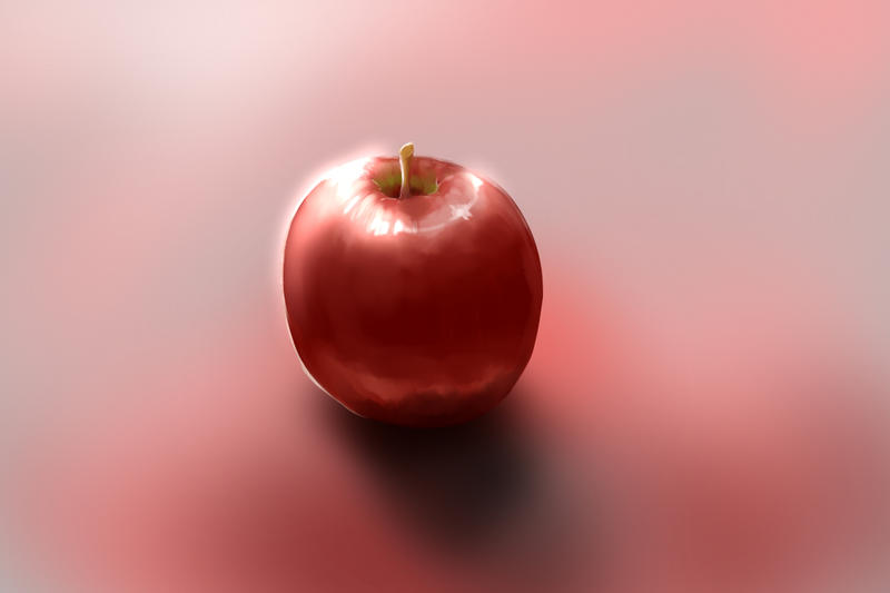 a red apple digital painting attempt by Dragunnity