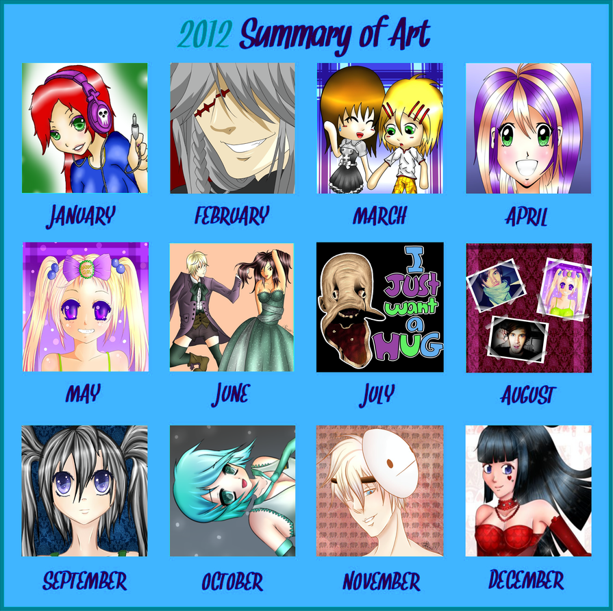 Art Summary for 2012 by purple-panda64
