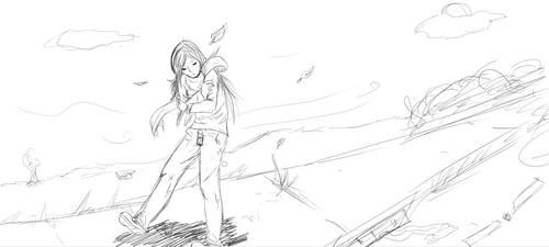 A Windy Day Sketch by Drweirdenstien
