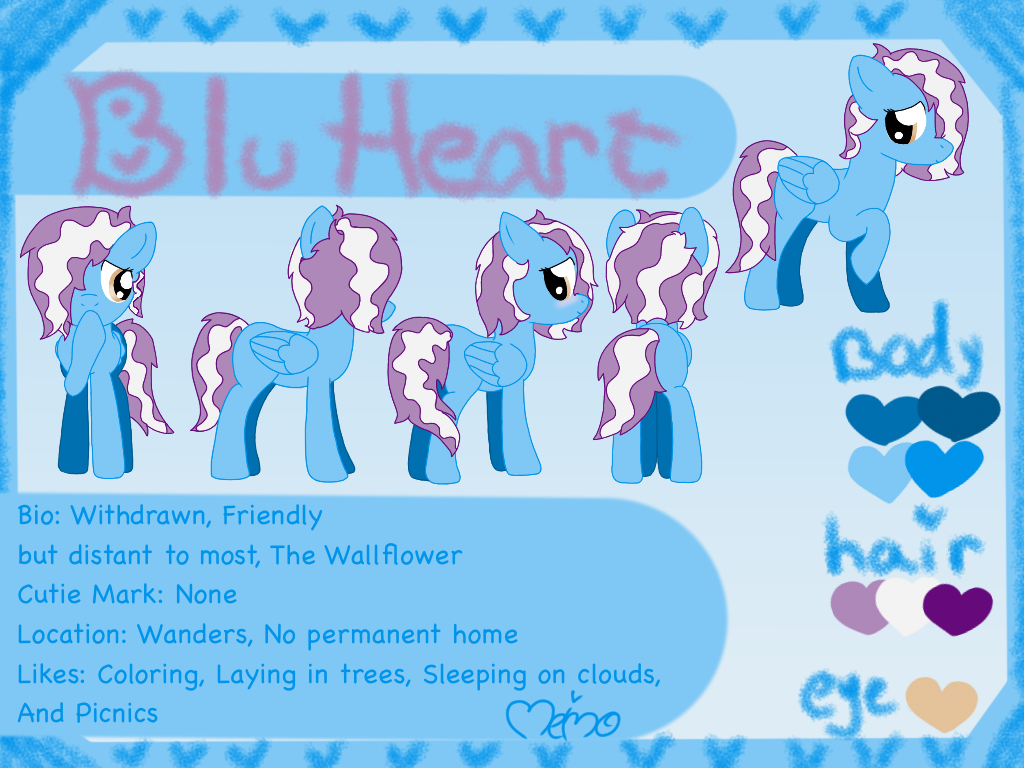 Blu Heart OC Reference Sheet by Meimo15
