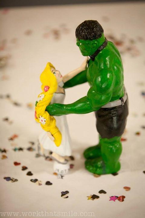 Rapunzel/Hulk Cake Topper by Kezzamin