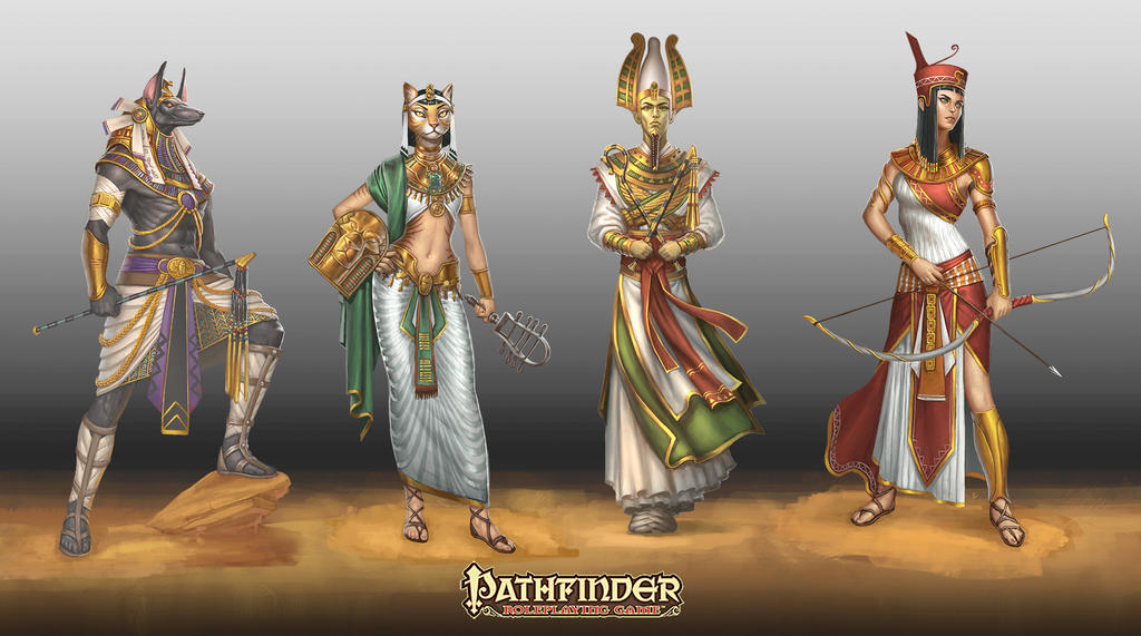egyptian deities Le divinità Egizie (Anubis, Bastet, Osiride e Neith.) - by Ekaterina Burmak Pathfinder Adventure Path #80 - Mummy's Mask pt.2, Empty Graves (2014) © PAIZO Publishing