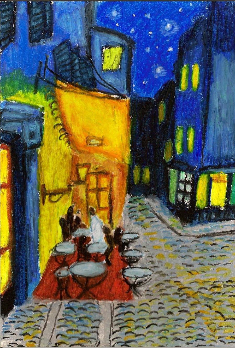 Cafe terrace at night by kupieckorzenny