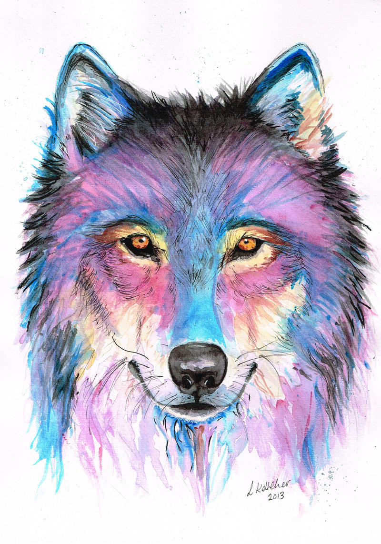 Wolf in Watercolour by LornaKelleherArt