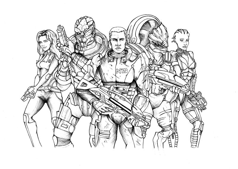 Line Art Effect : Mass effect line art by lornakelleherart on deviantart